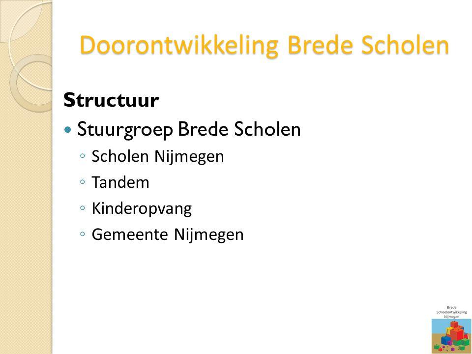 Doorontwikkeling Brede Scholen Structuur Stuurgroep Brede Scholen ◦ Scholen Nijmegen ◦ Tandem ◦ Kinderopvang ◦ Gemeente Nijmegen