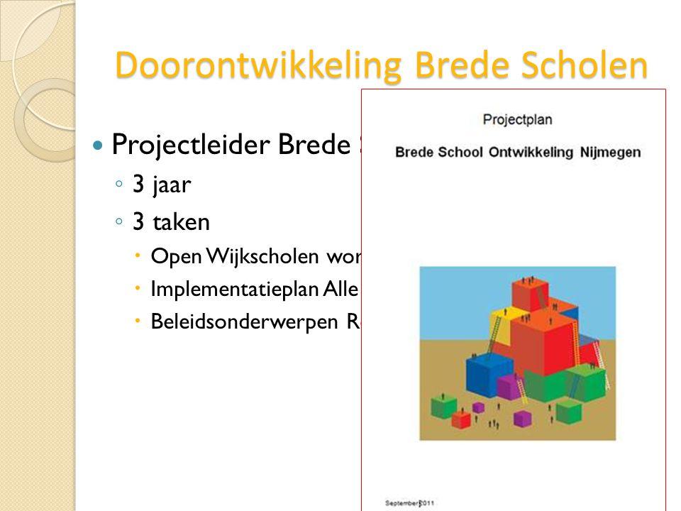 Doorontwikkeling Brede Scholen Projectleider Brede Schoolontwikkeling ◦ 3 jaar ◦ 3 taken  Open Wijkscholen worden Brede Scholen  Implementatieplan A