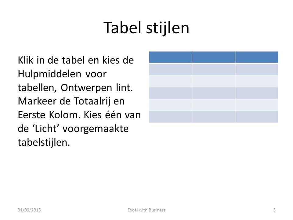 Tabel stijlen Klik in de tabel en kies de Hulpmiddelen voor tabellen, Ontwerpen lint. Markeer de Totaalrij en Eerste Kolom. Kies één van de 'Licht' vo