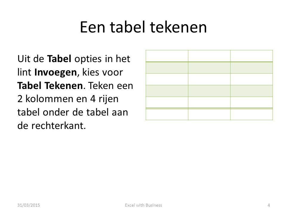 Een tabel tekenen Uit de Tabel opties in het lint Invoegen, kies voor Tabel Tekenen. Teken een 2 kolommen en 4 rijen tabel onder de tabel aan de recht
