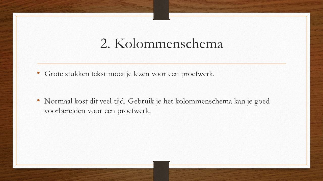 2. Kolommenschema Grote stukken tekst moet je lezen voor een proefwerk. Normaal kost dit veel tijd. Gebruik je het kolommenschema kan je goed voorbere