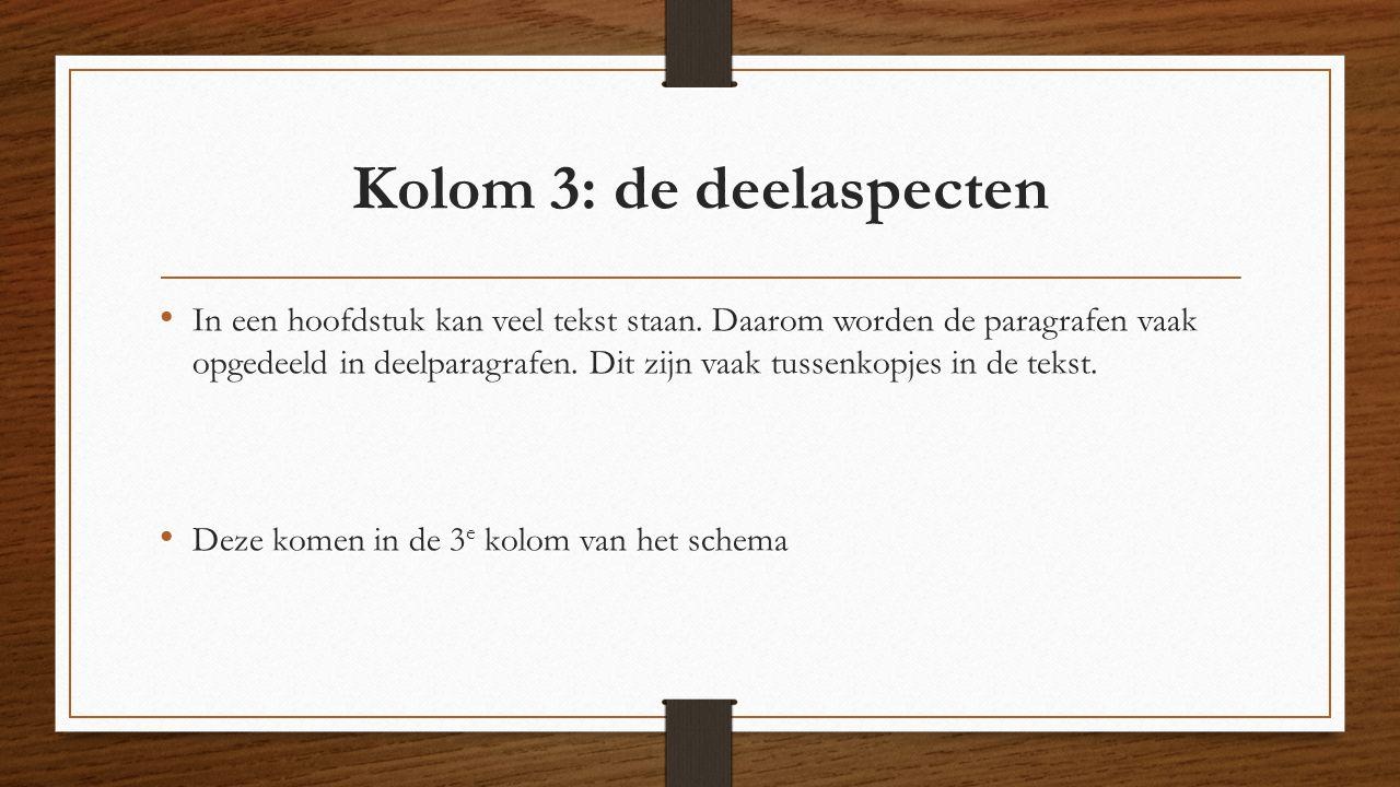 Kolom 3: de deelaspecten In een hoofdstuk kan veel tekst staan. Daarom worden de paragrafen vaak opgedeeld in deelparagrafen. Dit zijn vaak tussenkopj