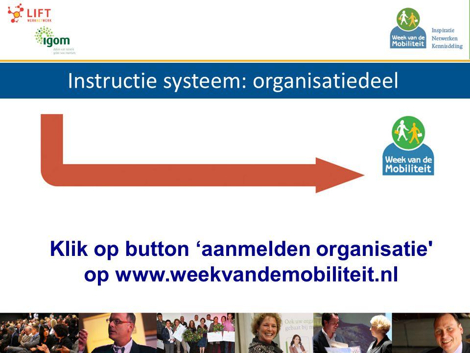 Instructie systeem: organisatiedeel Klik op button 'aanmelden organisatie op www.weekvandemobiliteit.nl