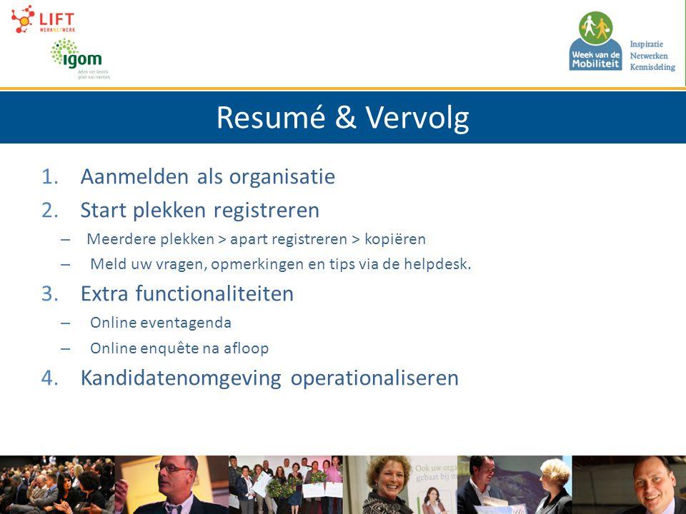 Resumé & Vervolg 1. Aanmelden als organisatie 2.