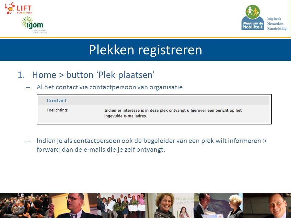 Plekken registreren 1.Home > button 'Plek plaatsen' – Al het contact via contactpersoon van organisatie – Indien je als contactpersoon ook de begeleider van een plek wilt informeren > forward dan de e-mails die je zelf ontvangt.