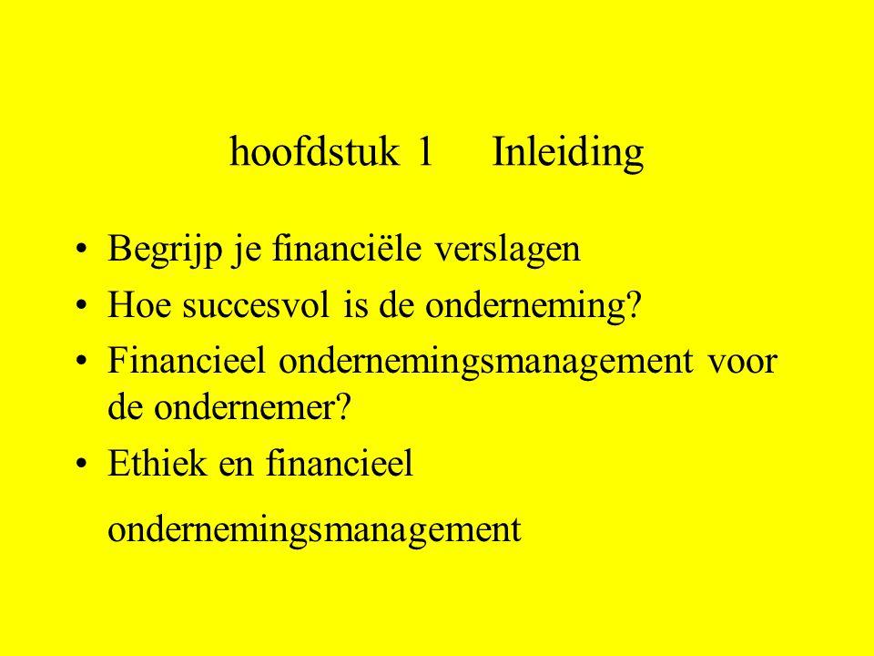 hoofdstuk 1 Inleiding Begrijp je financiële verslagen Hoe succesvol is de onderneming.