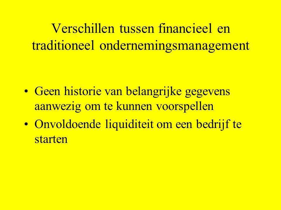 Verschillen tussen financieel en traditioneel ondernemingsmanagement Geen historie van belangrijke gegevens aanwezig om te kunnen voorspellen Onvoldoende liquiditeit om een bedrijf te starten