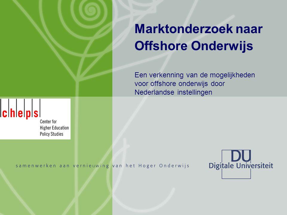 Marktonderzoek naar offshore onderwijs Jarno Deen 12 februari 2007 12/13 Conclusies Belemmeringen Nederland is niet bekend, marketing nodig.