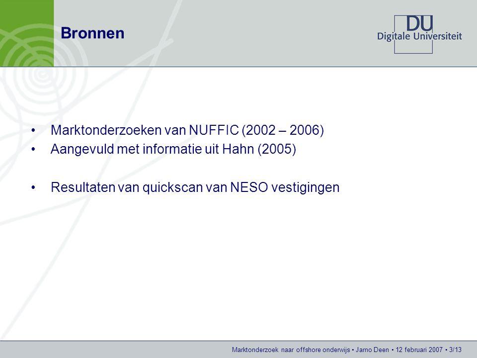 Marktonderzoek naar offshore onderwijs Jarno Deen 12 februari 2007 3/13 Bronnen Marktonderzoeken van NUFFIC (2002 – 2006) Aangevuld met informatie uit Hahn (2005) Resultaten van quickscan van NESO vestigingen