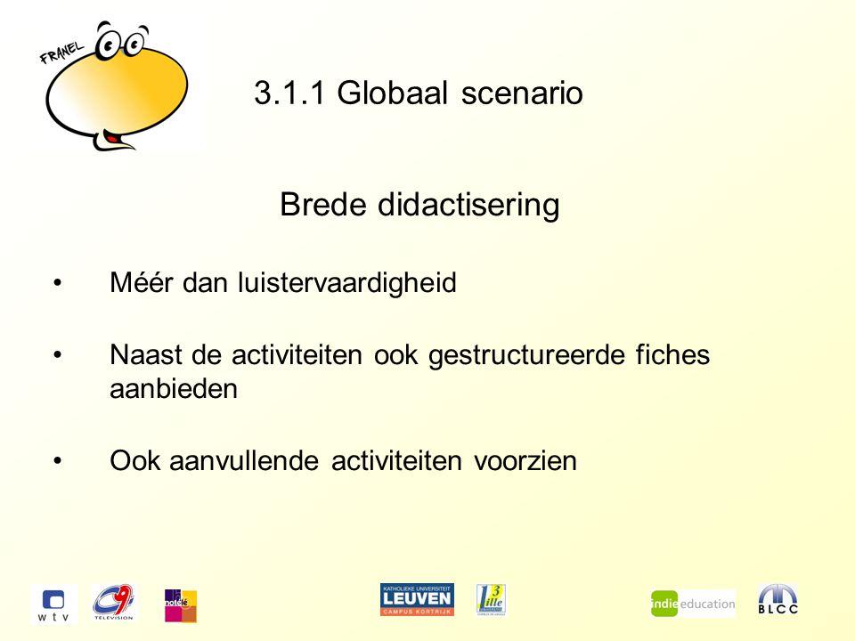 3.1.1 Globaal scenario Brede didactisering Méér dan luistervaardigheid Naast de activiteiten ook gestructureerde fiches aanbieden Ook aanvullende activiteiten voorzien