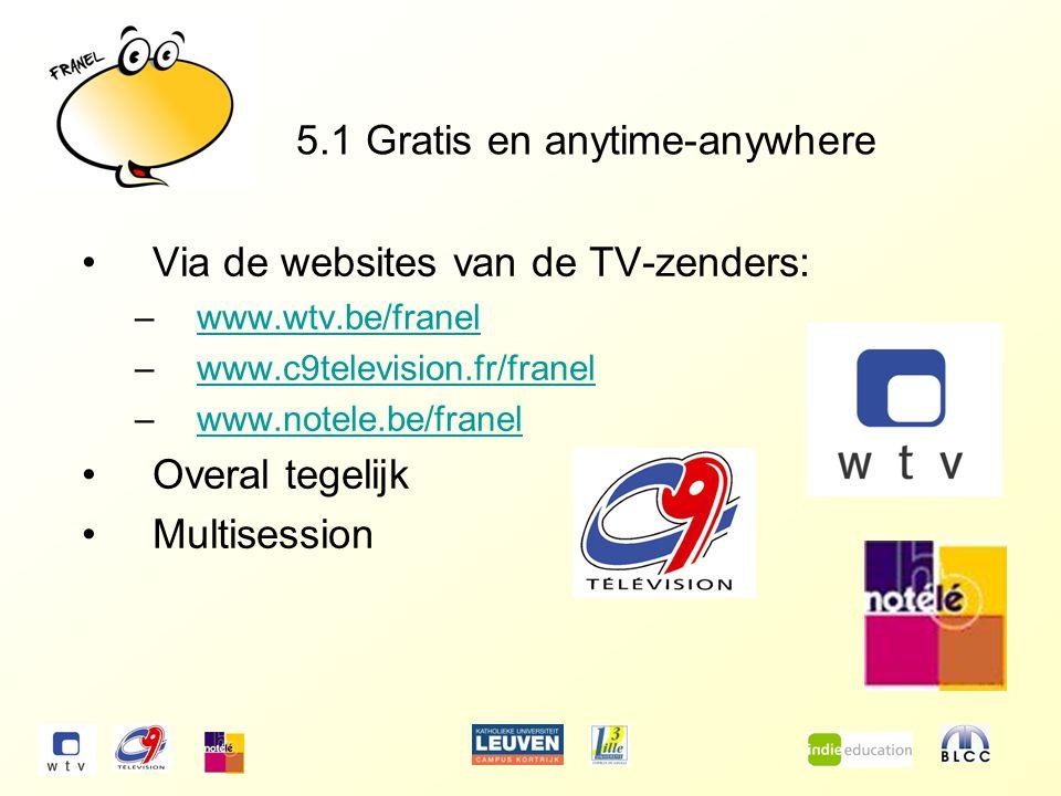5.1 Gratis en anytime-anywhere Via de websites van de TV-zenders: –www.wtv.be/franelwww.wtv.be/franel –www.c9television.fr/franelwww.c9television.fr/franel –www.notele.be/franelwww.notele.be/franel Overal tegelijk Multisession