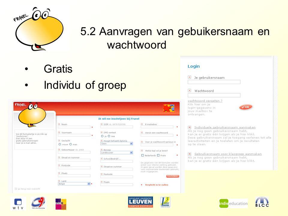 5.2 Aanvragen van gebuikersnaam en wachtwoord Gratis Individu of groep