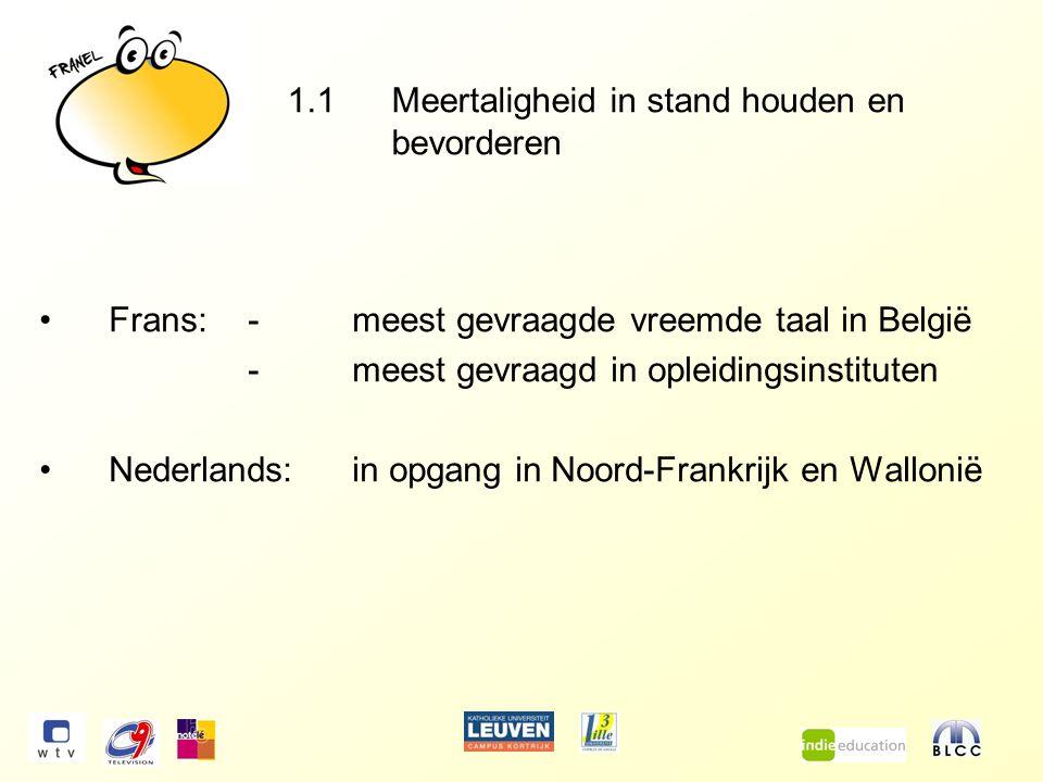 1.1Meertaligheid in stand houden en bevorderen Frans:-meest gevraagde vreemde taal in België -meest gevraagd in opleidingsinstituten Nederlands:in opgang in Noord-Frankrijk en Wallonië