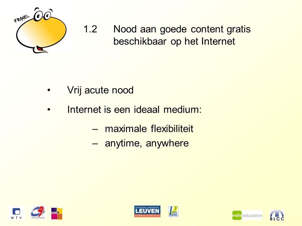 1.2Nood aan goede content gratis beschikbaar op het Internet Vrij acute nood Internet is een ideaal medium: –maximale flexibiliteit –anytime, anywhere