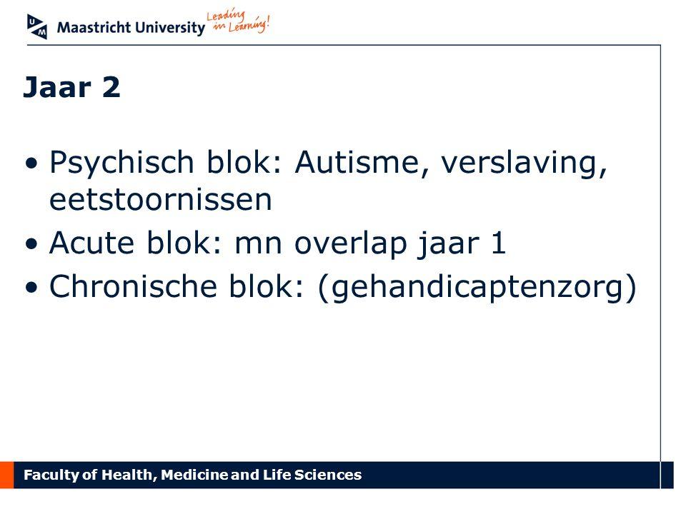 Faculty of Health, Medicine and Life Sciences Jaar 2 Psychisch blok: Autisme, verslaving, eetstoornissen Acute blok: mn overlap jaar 1 Chronische blok