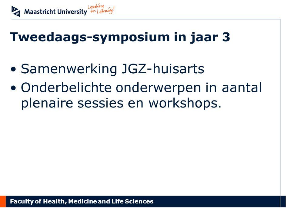 Faculty of Health, Medicine and Life Sciences Tweedaags-symposium in jaar 3 Samenwerking JGZ-huisarts Onderbelichte onderwerpen in aantal plenaire ses