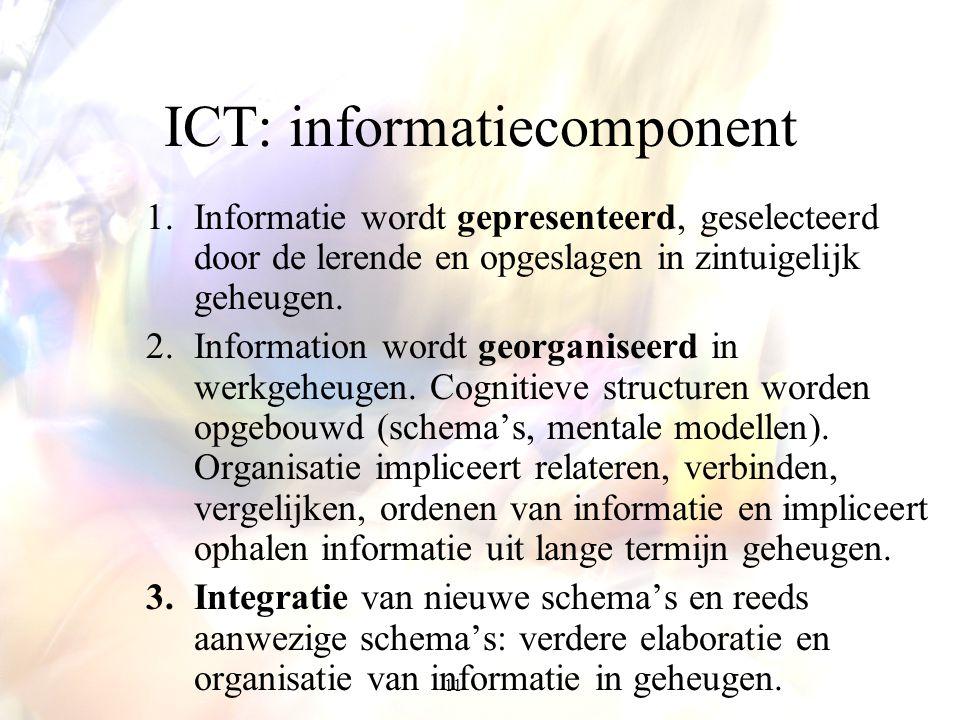 11 ICT: informatiecomponent 1.Informatie wordt gepresenteerd, geselecteerd door de lerende en opgeslagen in zintuigelijk geheugen. 2.Information wordt