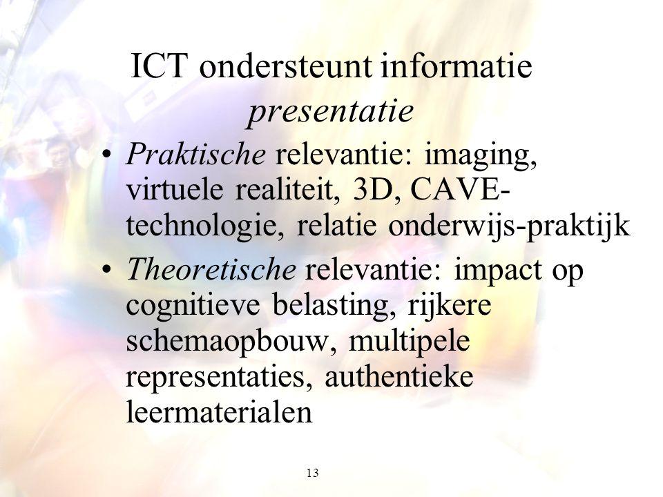 13 ICT ondersteunt informatie presentatie Praktische relevantie: imaging, virtuele realiteit, 3D, CAVE- technologie, relatie onderwijs-praktijk Theore
