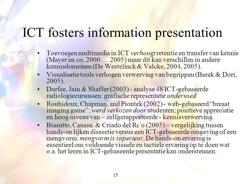 15 ICT fosters information presentation Toevoegen multimedia in ICT verhoogt retentie en transfer van kennis (Mayer en co, 2000 … 2005) maar dit kan v