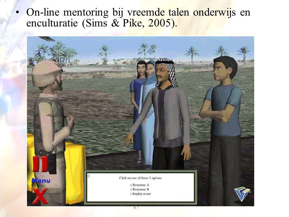 17 On-line mentoring bij vreemde talen onderwijs en enculturatie (Sims & Pike, 2005).
