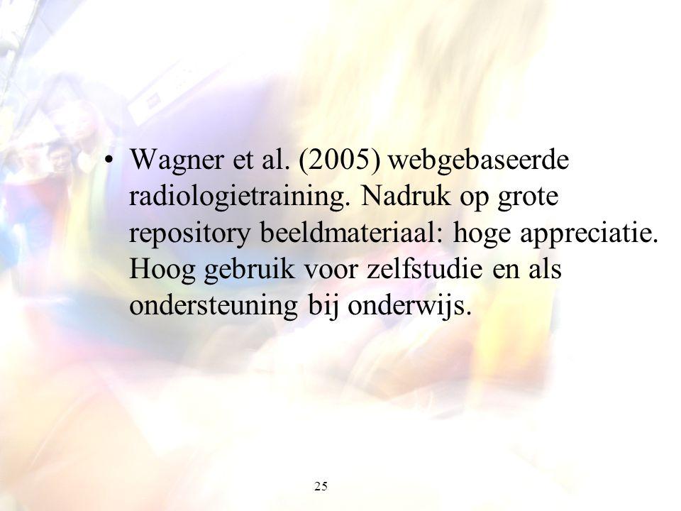 25 Wagner et al. (2005) webgebaseerde radiologietraining. Nadruk op grote repository beeldmateriaal: hoge appreciatie. Hoog gebruik voor zelfstudie en
