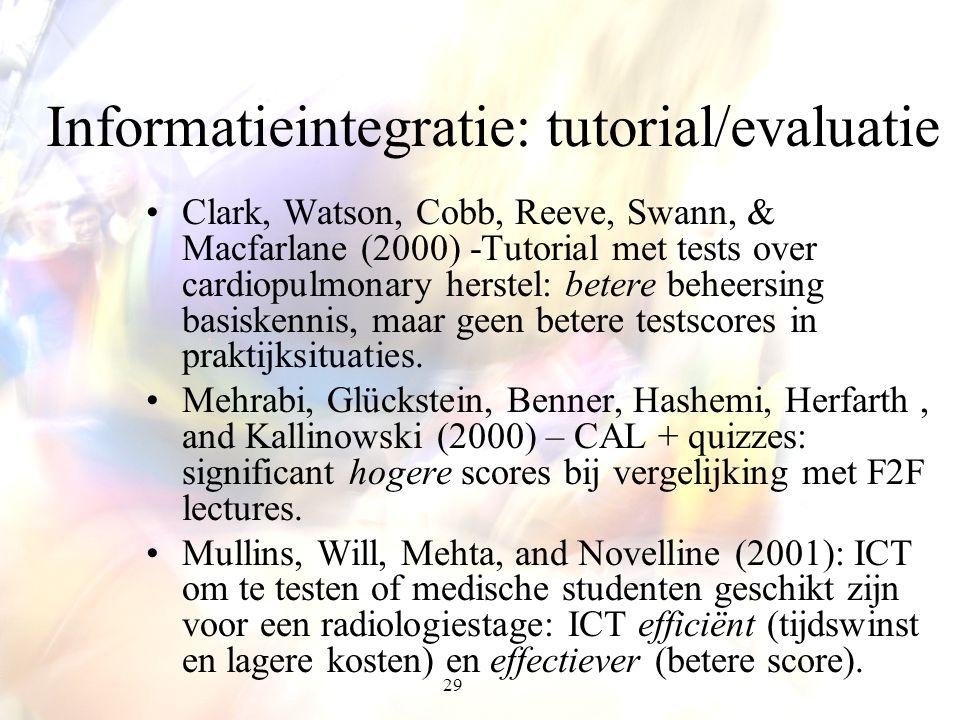 29 Informatieintegratie: tutorial/evaluatie Clark, Watson, Cobb, Reeve, Swann, & Macfarlane (2000) -Tutorial met tests over cardiopulmonary herstel: b