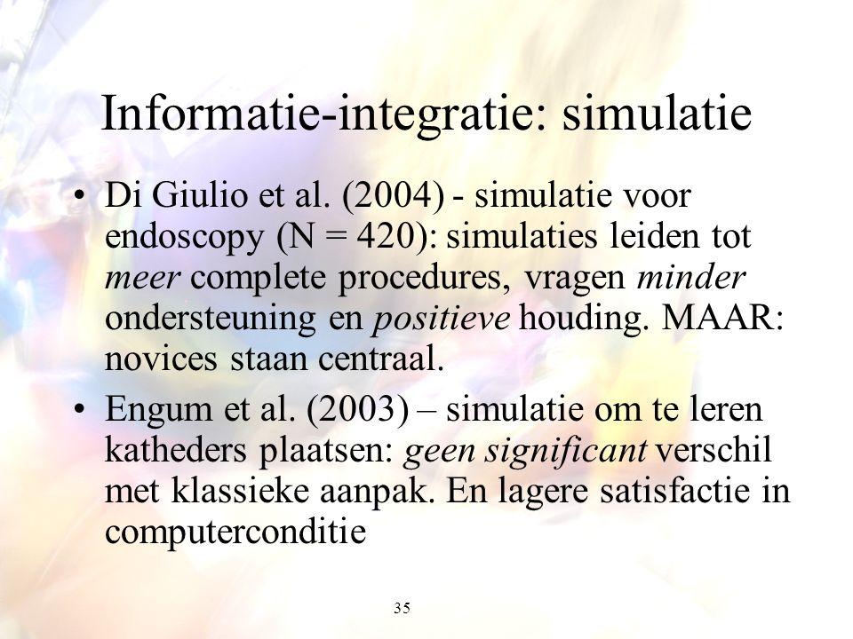 35 Informatie-integratie: simulatie Di Giulio et al. (2004) - simulatie voor endoscopy (N = 420): simulaties leiden tot meer complete procedures, vrag