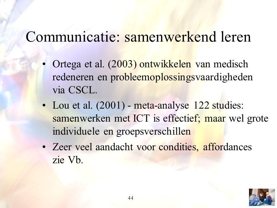 44 Communicatie: samenwerkend leren Ortega et al. (2003) ontwikkelen van medisch redeneren en probleemoplossingsvaardigheden via CSCL. Lou et al. (200