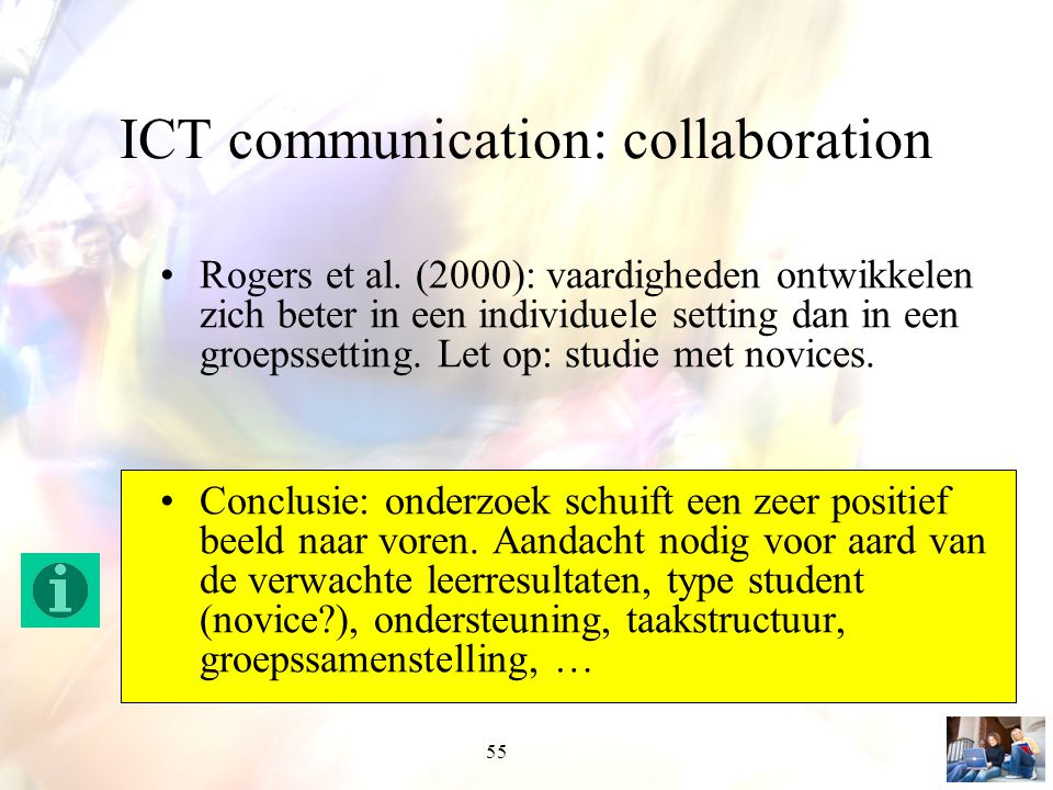 55 ICT communication: collaboration Rogers et al.
