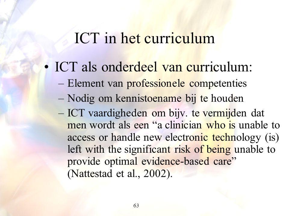 63 ICT in het curriculum ICT als onderdeel van curriculum: –Element van professionele competenties –Nodig om kennistoename bij te houden –ICT vaardigh