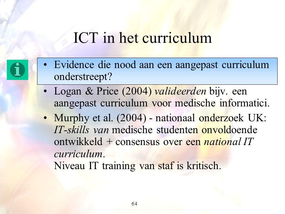 64 ICT in het curriculum Evidence die nood aan een aangepast curriculum onderstreept? Logan & Price (2004) valideerden bijv. een aangepast curriculum