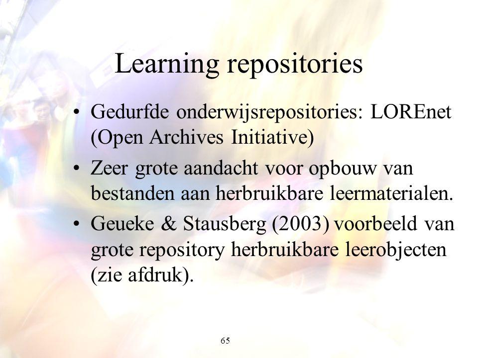 65 Learning repositories Gedurfde onderwijsrepositories: LOREnet (Open Archives Initiative) Zeer grote aandacht voor opbouw van bestanden aan herbruik