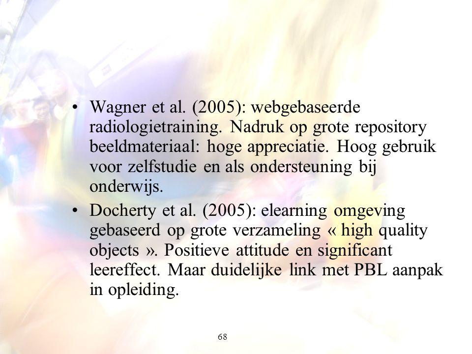 68 Wagner et al. (2005): webgebaseerde radiologietraining. Nadruk op grote repository beeldmateriaal: hoge appreciatie. Hoog gebruik voor zelfstudie e
