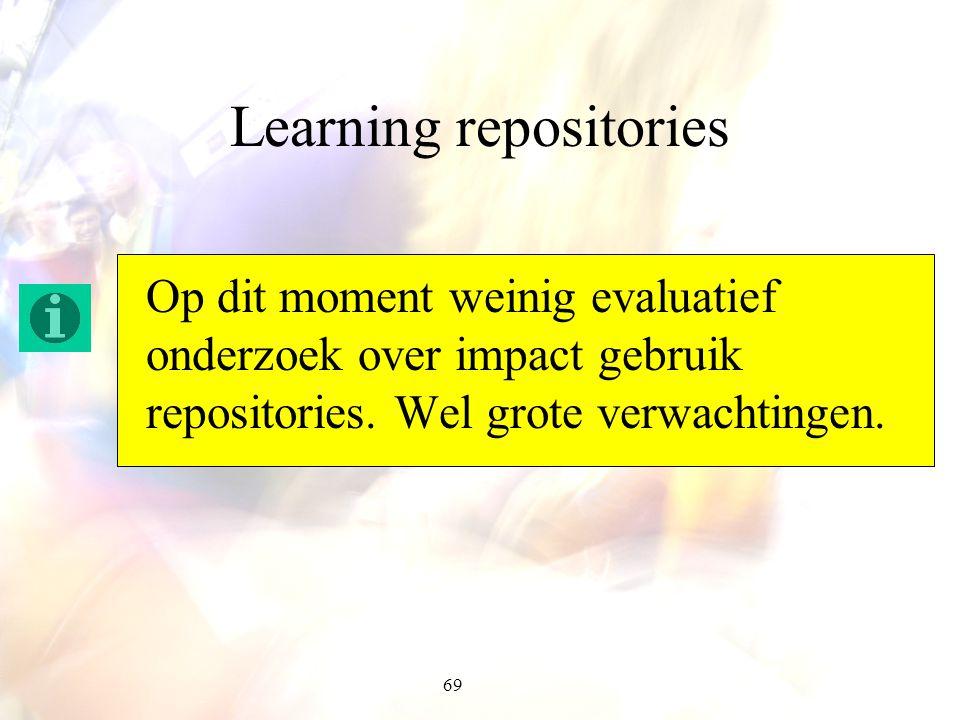 69 Learning repositories Op dit moment weinig evaluatief onderzoek over impact gebruik repositories. Wel grote verwachtingen.