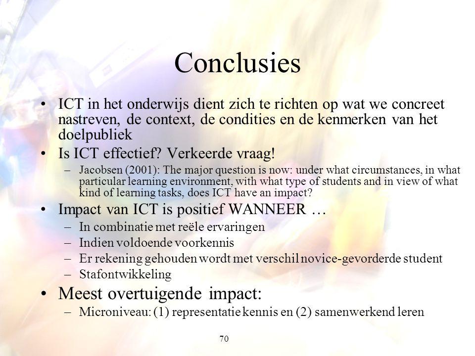 70 Conclusies ICT in het onderwijs dient zich te richten op wat we concreet nastreven, de context, de condities en de kenmerken van het doelpubliek Is