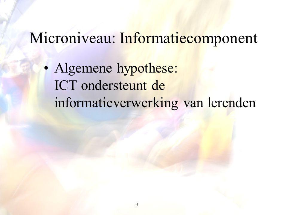 9 Microniveau: Informatiecomponent Algemene hypothese: ICT ondersteunt de informatieverwerking van lerenden