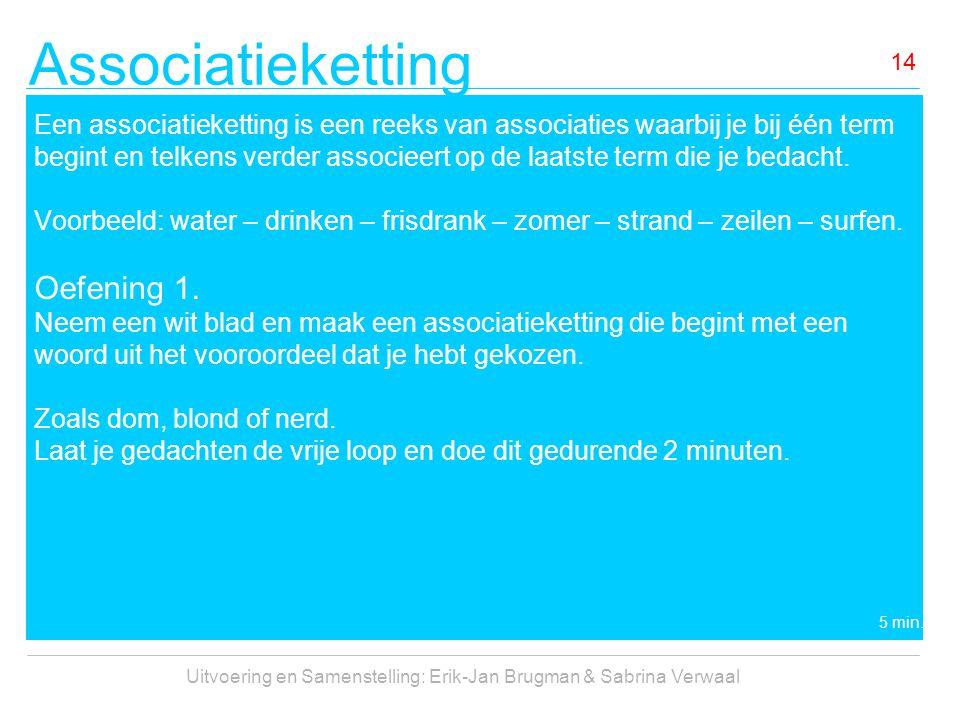 Associatieketting Uitvoering en Samenstelling: Erik-Jan Brugman & Sabrina Verwaal 14 Een associatieketting is een reeks van associaties waarbij je bij