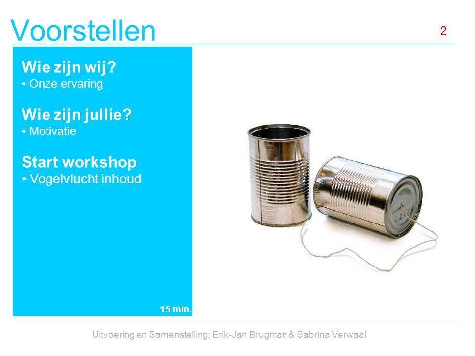 Voorstellen Uitvoering en Samenstelling: Erik-Jan Brugman & Sabrina Verwaal 2 Wie zijn wij? Onze ervaring Wie zijn jullie? Motivatie Start workshop Vo