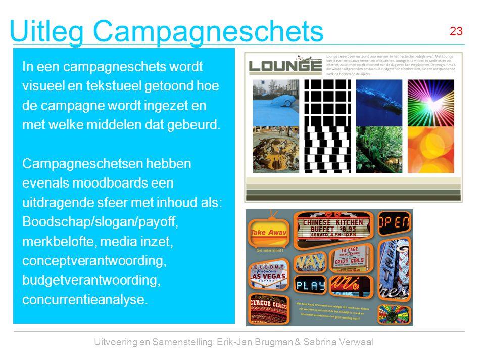 Uitleg Campagneschets Uitvoering en Samenstelling: Erik-Jan Brugman & Sabrina Verwaal 23 In een campagneschets wordt visueel en tekstueel getoond hoe de campagne wordt ingezet en met welke middelen dat gebeurd.