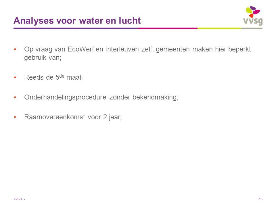 VVSG - 16 Analyses voor water en lucht Op vraag van EcoWerf en Interleuven zelf, gemeenten maken hier beperkt gebruik van; Reeds de 5 de maal; Onderhandelingsprocedure zonder bekendmaking; Raamovereenkomst voor 2 jaar;