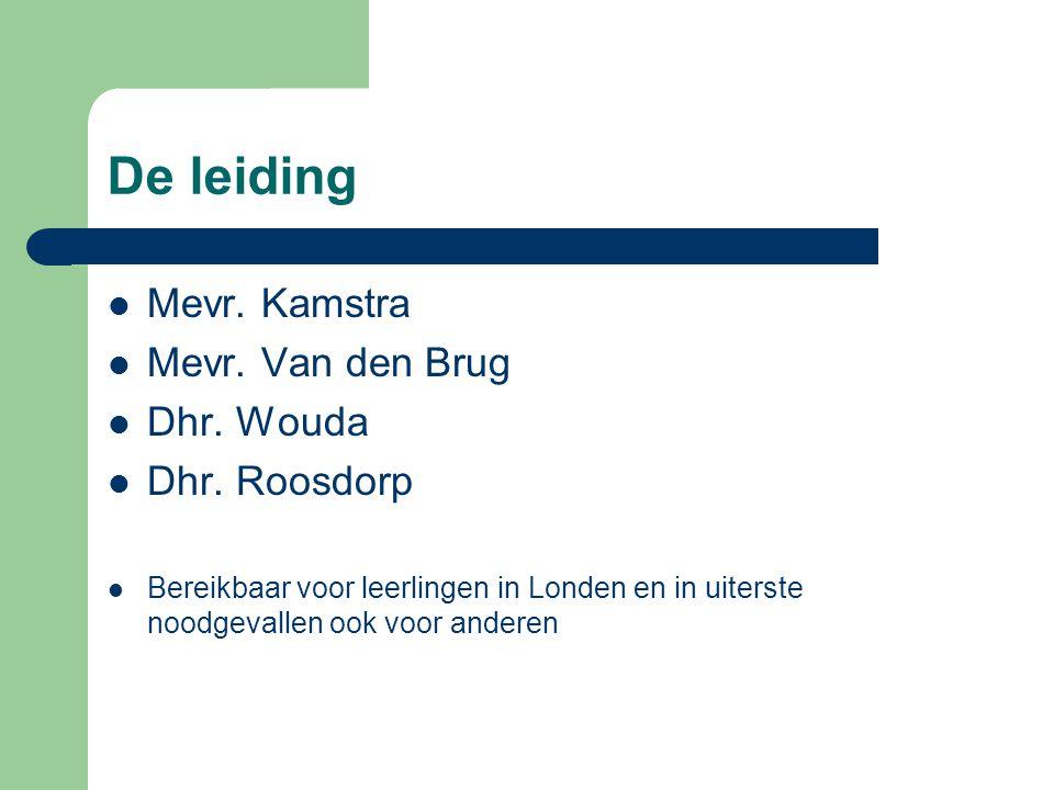 De leiding Mevr. Kamstra Mevr. Van den Brug Dhr.