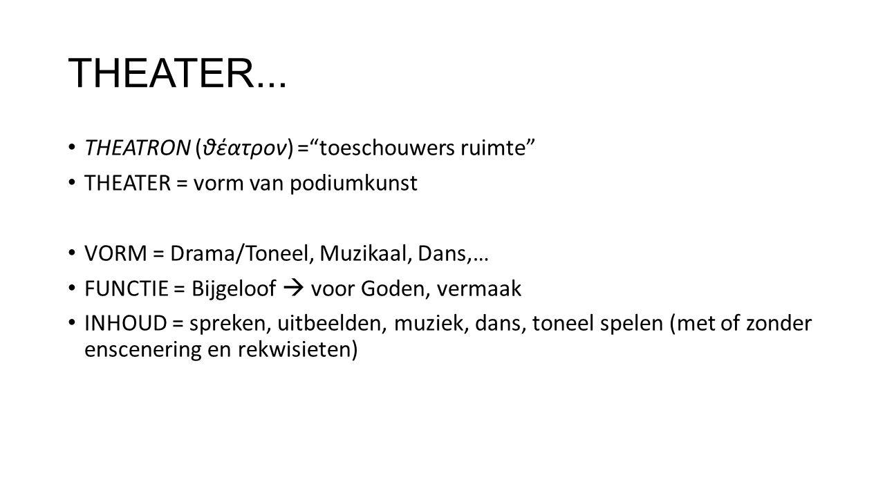 """THEATER... THEATRON (θέατρον) =""""toeschouwers ruimte"""" THEATER = vorm van podiumkunst VORM = Drama/Toneel, Muzikaal, Dans,… FUNCTIE = Bijgeloof  voor G"""
