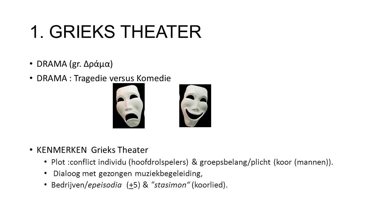 1. GRIEKS THEATER DRAMA (gr. Δράμα) DRAMA : Tragedie versus Komedie KENMERKEN Grieks Theater Plot :conflict individu (hoofdrolspelers) & groepsbelang/