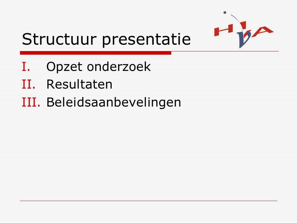 Structuur presentatie I.Opzet onderzoek II.Resultaten III.Beleidsaanbevelingen