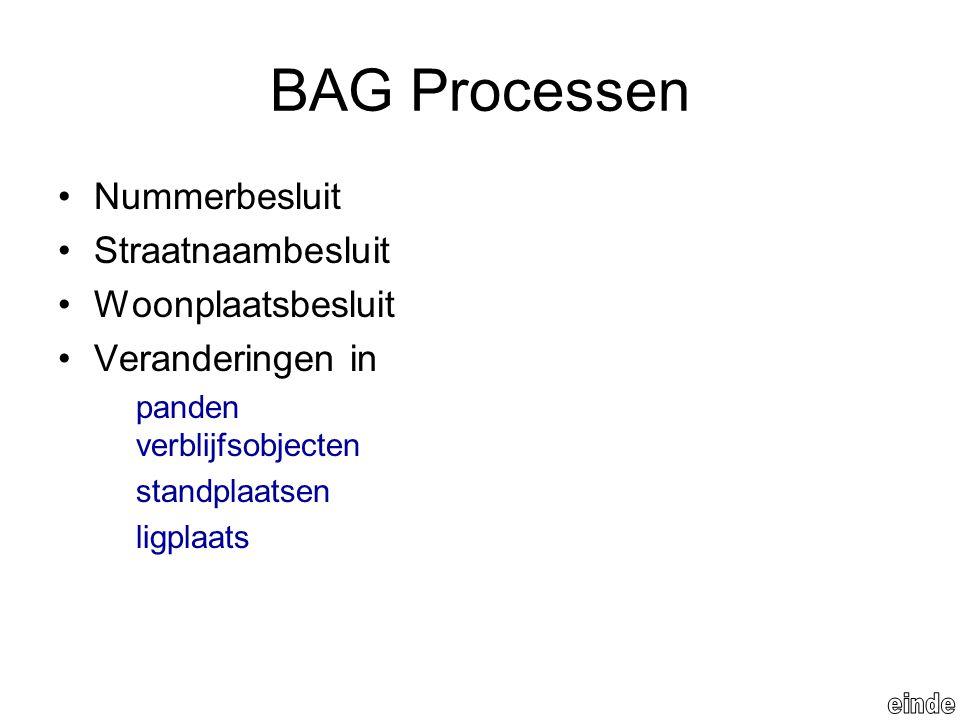 BAG Processen Nummerbesluit Straatnaambesluit Woonplaatsbesluit Veranderingen in panden verblijfsobjecten standplaatsen ligplaats