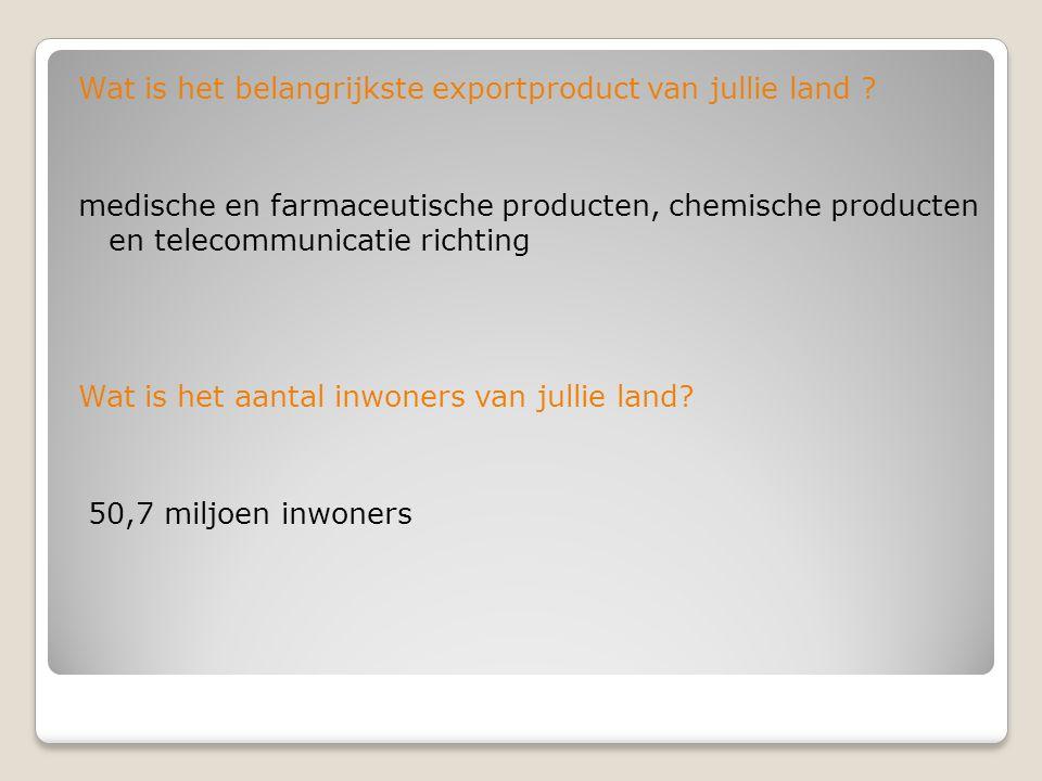 Wat is het belangrijkste exportproduct van jullie land ? medische en farmaceutische producten, chemische producten en telecommunicatie richting Wat is