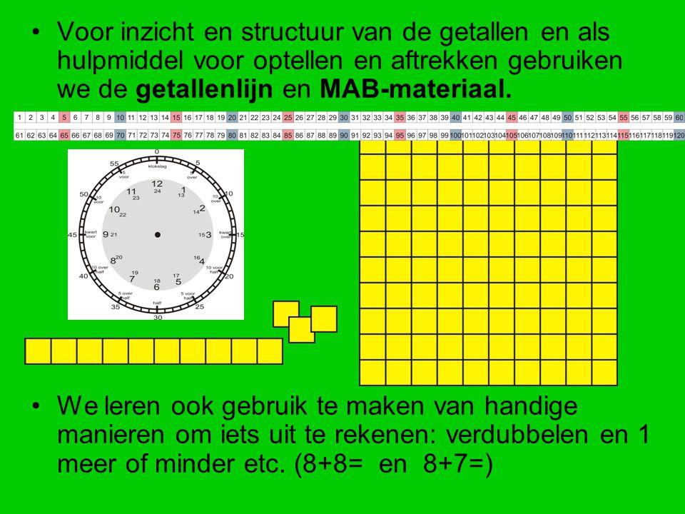 Voor inzicht en structuur van de getallen en als hulpmiddel voor optellen en aftrekken gebruiken we de getallenlijn en MAB-materiaal. We leren ook geb