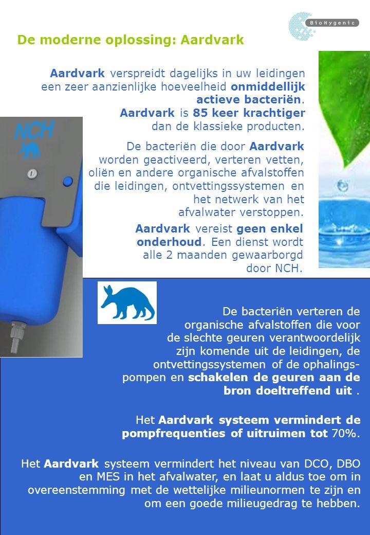 Aardvark  Creëert dagelijks 250 miljard actieve aeroob en anaeroob bacteriën, die onmiddellijk actief worden in leidingen, de ontvettingssystemen en de ophalingspompen.
