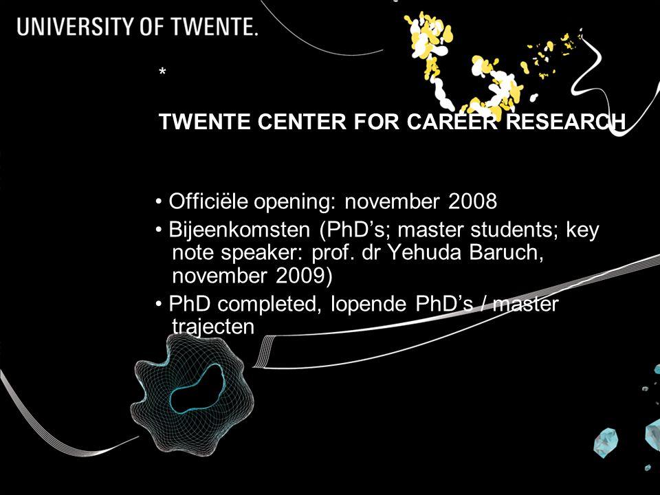 Prof dr Karin Sanders * TWENTE CENTER FOR CAREER RESEARCH Officiële opening: november 2008 Bijeenkomsten (PhD's; master students; key note speaker: prof.
