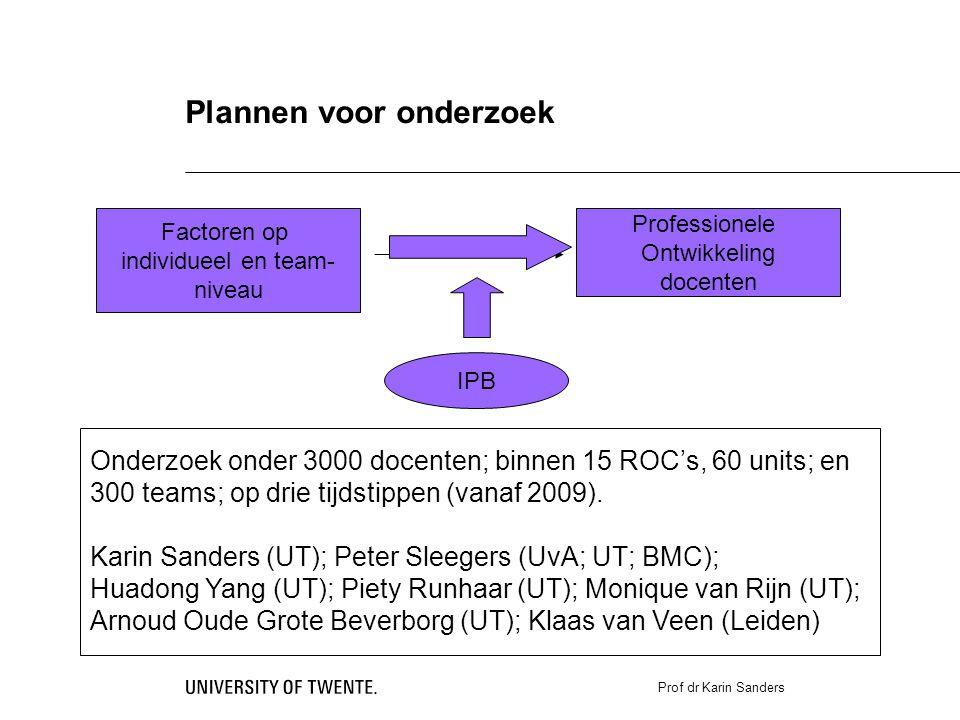 Prof dr Karin Sanders Plannen voor onderzoek Factoren op individueel en team- niveau Professionele Ontwikkeling docenten IPB Onderzoek onder 3000 docenten; binnen 15 ROC's, 60 units; en 300 teams; op drie tijdstippen (vanaf 2009).